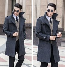 2016 new arrival Men's woolen overcoat medium-long double breasted obese plus size S M L XL 2XL 3XL 4XL 5XL 6XL 7XL 8XL 9XL 10XL(China (Mainland))