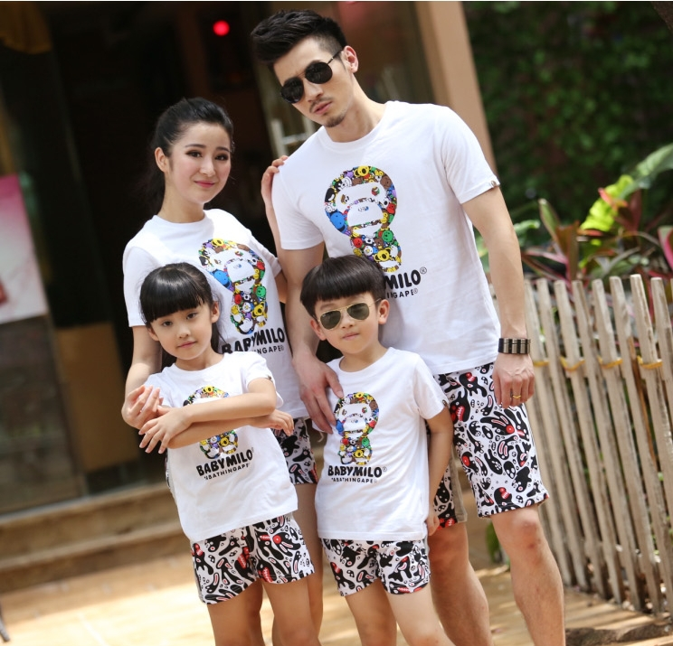 2015 summer New Family Mother and daughter clothes, Kids Baby Milo Sports T shirt +Pants Girls Boys sets(China (Mainland))