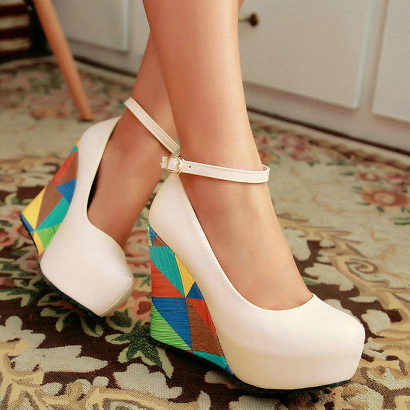 2015 Pastoral style round toe wedge heel high-heel women pump ankle strap candy color blue ladies wedding shoes <br><br>Aliexpress