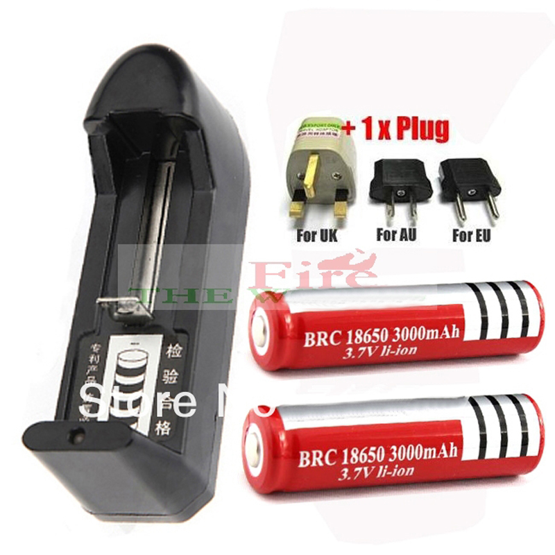 AAA AA 18650 14500 10440 Rechargeable Battery Universal Charger + 2 * 18650 battery + power adapter Free Shipping(China (Mainland))