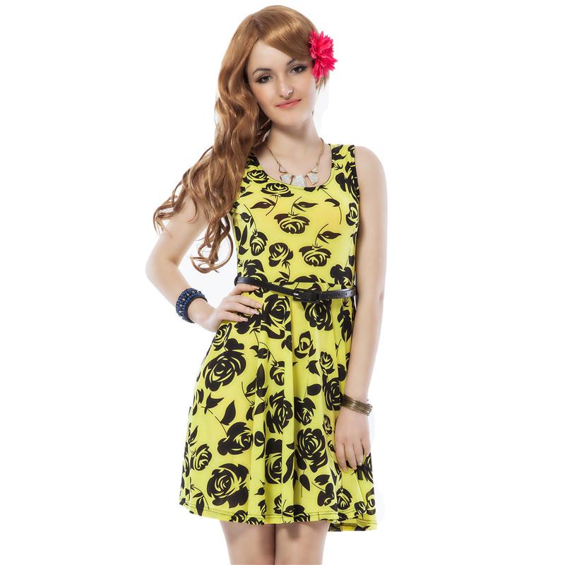 RE7788 Free shipping sleeveless ball gown summer style print dress 2016 new flower women dress with belt fashion summer dress(China (Mainland))