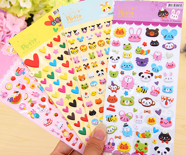 Cartoon puffy bubble stickers kids reward stickers for Stickers infantiles
