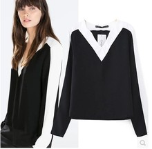 2016 NEW Fashion ZA black and white Patchwork long sleeved V-Neck shirt blouse COOL neutral Women Tops