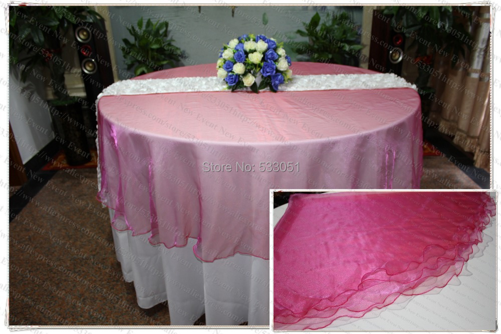 210cm Round NO.3 Fuchsia Color Organza Table Overlay/Table Cover/Tablecloth For Wedding Party Home Hotel Banquet Decorations(China (Mainland))