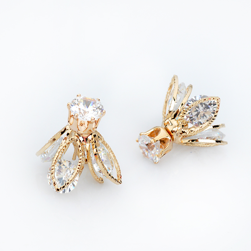 Dc12 5 hllow crystal flower earrings for women 2015 korean for High end fashion jewelry