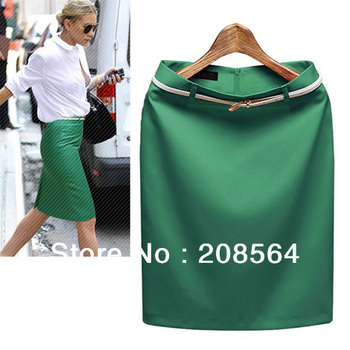 New Fashion 7 Colors Women's Business Suit Pencil Skirt Summer Vocational OL Skirts Free Belt 380