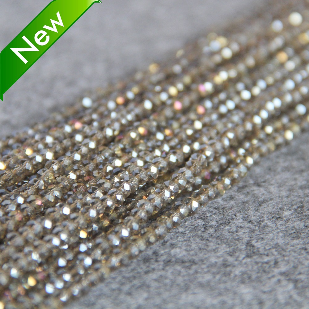 New For Necklace&Bracelet 3*4mm Faceted Gray AB+ Colorful Glass Crystal Beads Stone Jasper Beads Loose 15inch DIY Jewelry Making(China (Mainland))