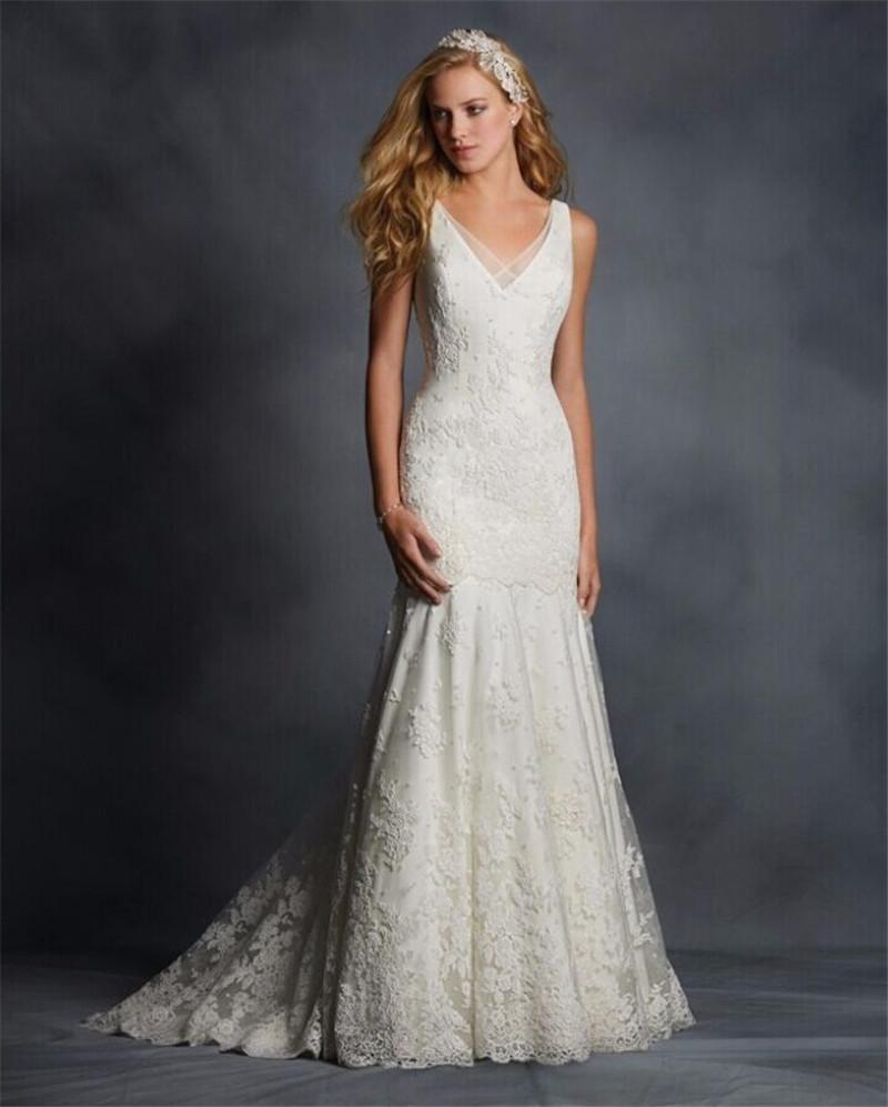 Vestido de novia best selling fashion v neck lace wedding for Best selling wedding dresses