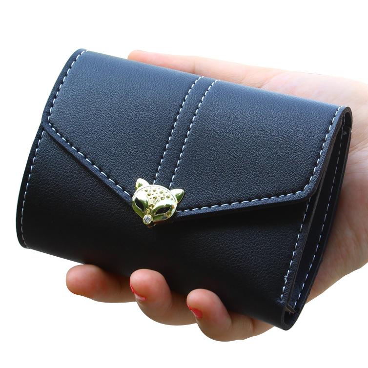 Short Purse Women Wallets ID Cards Holder Lady Purses PU Leather Fold Female Wallet Fox Head Money Bags Clips Pocket Burse Case(China (Mainland))