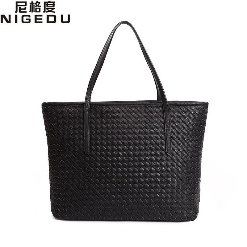 Knitting women bag 2016 fashion brief women Shoulder bag designer handbags high quality pu leather Shopping Bag Big female Totes(China (Mainland))