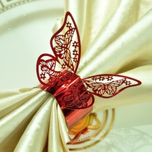 50pcs/lot Red Butterfly Napkin Rings