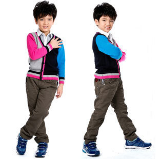 Kids Fashion Pants for Boys Spring Trousers with Elastic Waist, Free Shipping K0339