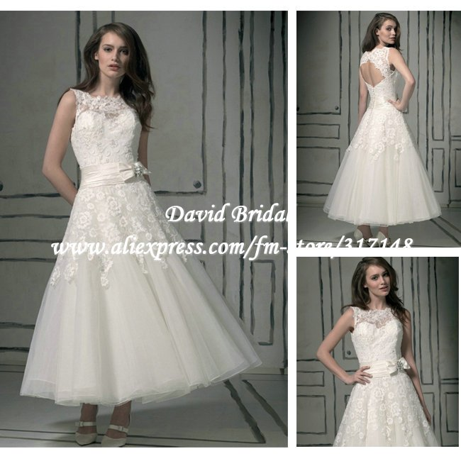 New arrival dv156 keyhole back lace top sleeveless ankle for Lace ankle length wedding dress