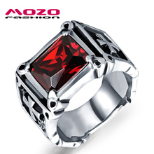 2016 USA Fashion jewelry 316L stainless steel Cubic Zirconia ring pattern Punk Overbearing vintage men Rings cool man MGJ470(China (Mainland))
