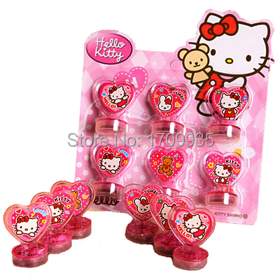 New Hello Kitty Toys Action Figure Dolls For Children Boys Girls Kids Gifts cartoon stamps sets Seal Stamper Set 6pcs/lot(China (Mainland))