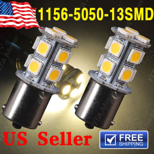 2pcs/lot led Light for Car 1156 1141 BA15S 13 LED 5050 SMD Turn Signal Lights Warm White Car RV Trailer led Lights Lamps -B(China (Mainland))