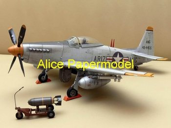 [Alice papermodel] Wingspan 35CM 1:33 WWII US fighter P-51H Mustang P51H airplane army models