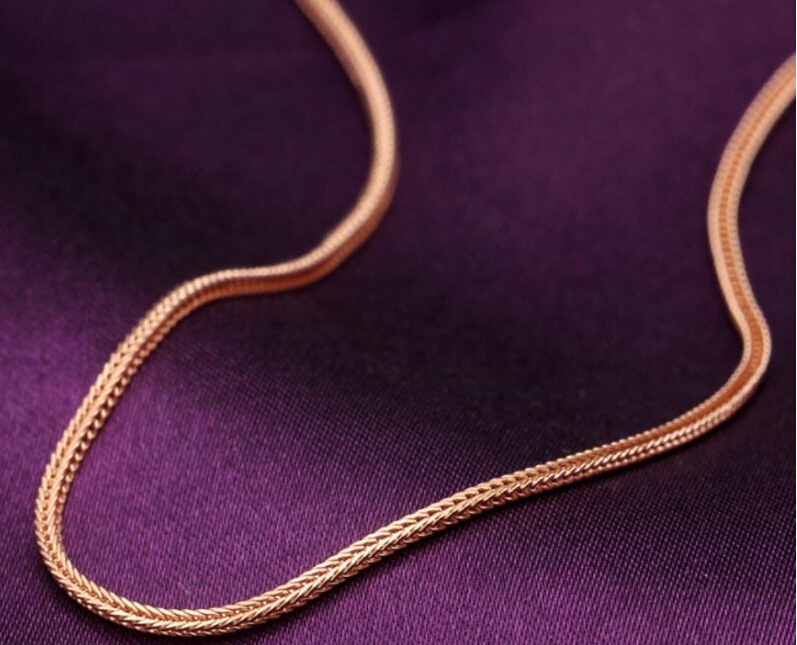 45cm L Pure 18K Rose Gold Chain Necklace/ Italy Wheat Chain Necklace/ 4g(China (Mainland))