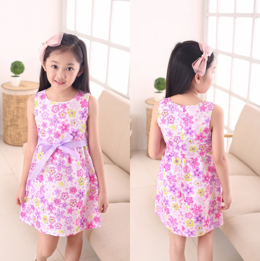Wholesale summer style dress girl dress new free shipping for 3-11 age bow floral Girls Princess Party Bow Kids Formal Dress<br><br>Aliexpress