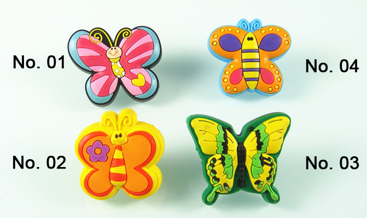 Free shipping 10pcs/lot butterfly series kids room cabinet Knobs pull handles soft Rubber material colorful(China (Mainland))