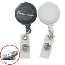 12 PCS Reels Retractable Badge ID card Holder Alligator Clip ID Solid YOYO White or Black(China (Mainland))