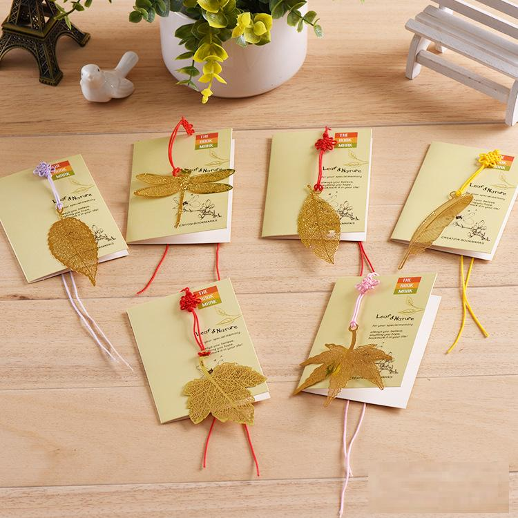 6PCS/LOT 6 Styles Lovely Cute Metal Bookmark Mulberry leaves Dragonfly Golden Bookmark Book Holder for Book Paper Creative Gift(China (Mainland))