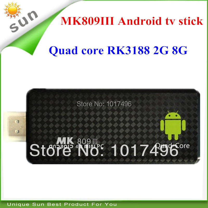 mk809 iii tv stick android tv box quad core 2gb ram 8gb rom smart tv mk809iii mini pc rk3188 android 4.2 tv dongle free shipping(China (Mainland))