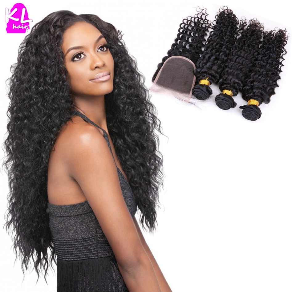 (3+1)Indian Deep Curly Virgin Hair With Closure 7A Grade Unprocessed Human Hair Deep Wave Hair Bundles With Lace Closure<br>