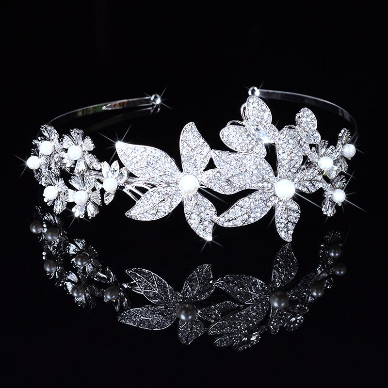 Flower Rhinestone Crystal Elegant Wedding Tiaras For Bridal Bridesmaid Hair Combs Crown Evening Headband Barrette DFJ156141(China (Mainland))