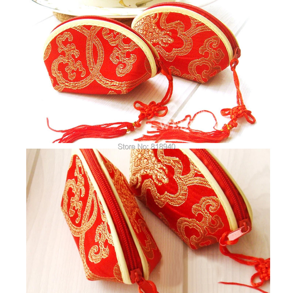 50 PCS Traditional Chinese Wedding Candy Box Bag Party Bridal Favour Gift Red