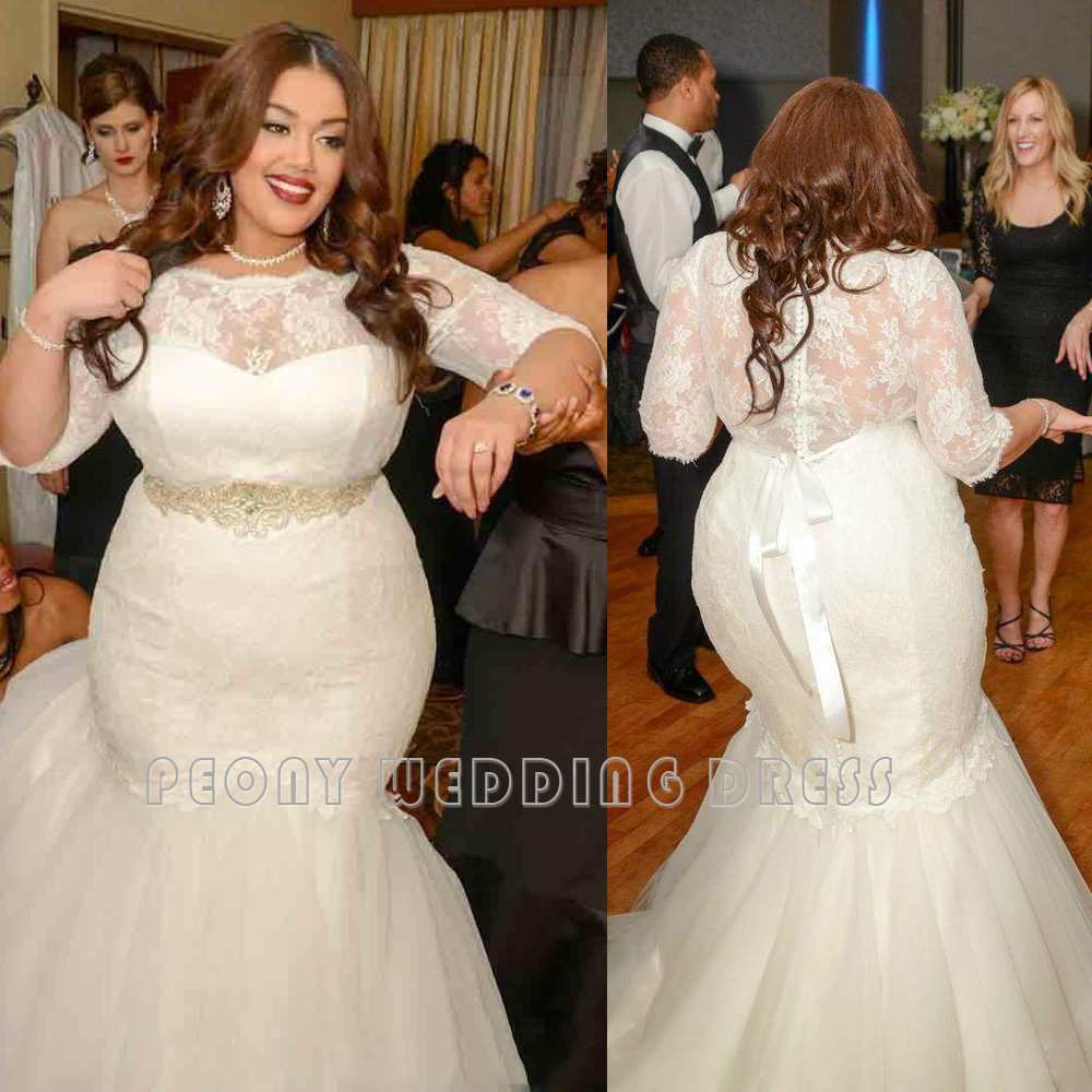 2016 sexy lace plus size wedding dresses with sleeves for Ivory plus size wedding dresses