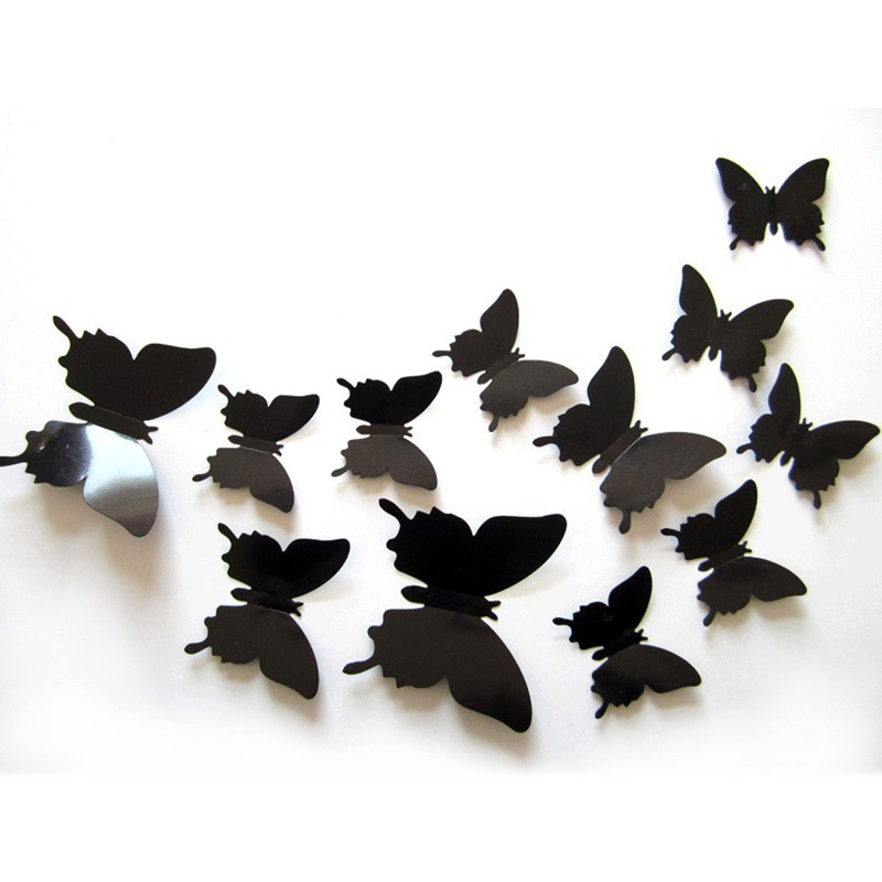 12pcs/lot Creative Butterfly 3D Wall Stickers Plastic Wall Art Stickers Bedroom Decoration Home Decoration Accessories(China (Mainland))