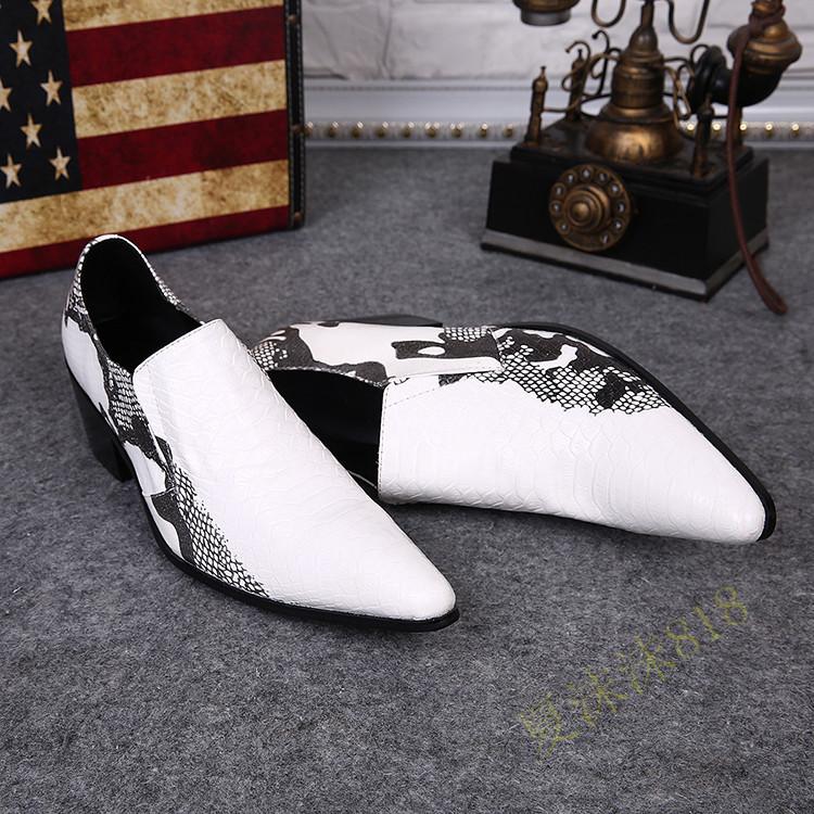 Plus Size 38-46 Snake Grain White Wedding Shoes Men Fashion Gentlemen Genuine Leather Evening Party Elevator Shoes<br><br>Aliexpress