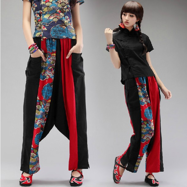Summer trend 2014 national women casual trousers wide leg harem pants big fluid culottes - iGem store