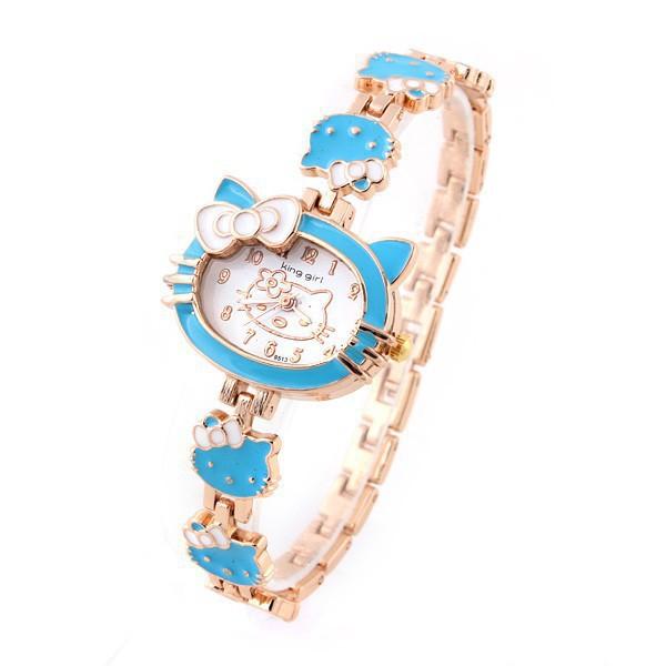 2015 New Hello Kitty Watches Fashion Ladies Quart Watch Vintage Kids Cartoon Wristwatches Analog King Girl Quartz Women Watches(China (Mainland))