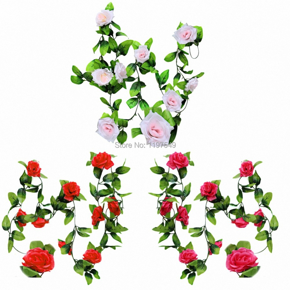 240 CM Artificial Plastic Rose Vine for Party Home Bed Living Room Decoration Decor(China (Mainland))