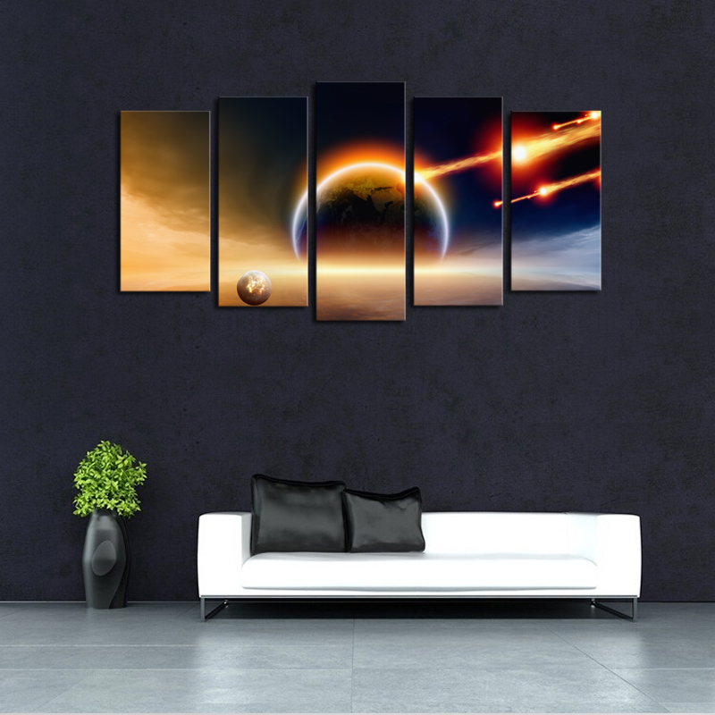 Unframed 5 panels abstract planet landscape picture canvas print painting wall art canvas - Home decoration wholesale paint ...