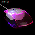 Mosunx Advanced New Transparent LED Wired Mouse 1600DPI Optical Gaming mouse Night Light for Computer PC