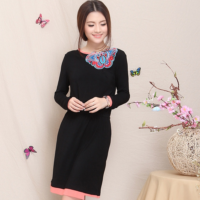 2015 spring summer women fancy cheongsam national trend slim one-piece dress embroidery Chinese Style dress Free Shipping(China (Mainland))