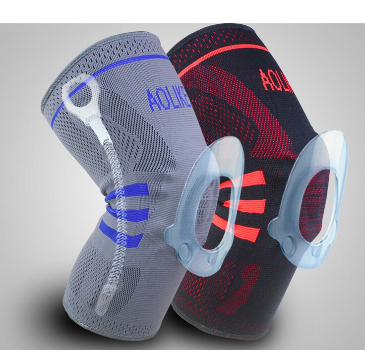 Seller Recommend! 2pc/lot  silica gel kneepad basketball Patella knee protector elastic climbing knee support Grey/black color <br><br>Aliexpress