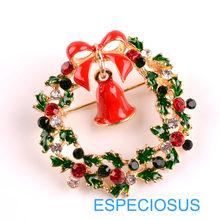 Elegante Spille Oro di Colore Albero Di Natale del Regalo Delle Donne Di Natale Indumenti Seno Spille Accessori Dei Monili Dipinta Spilla di Strass(China)
