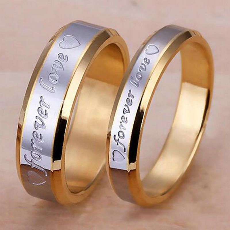 Forever Love Band Ring 18 K Gold Plated Fashion Couple Ring For Men & Women Stainless Steel Promise Wedding Ring(China (Mainland))
