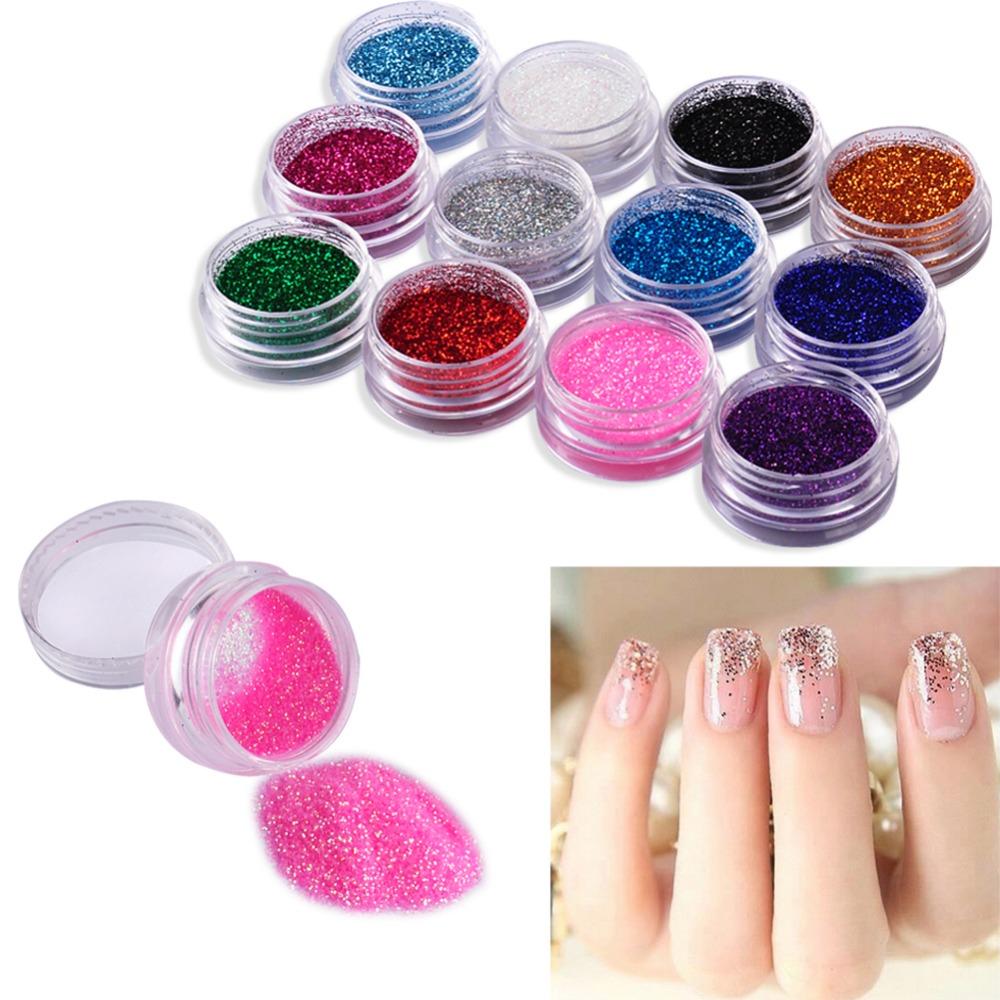 12 Color Nail Glitter Powder Decor Nail Art Powder Sparkly Dust Acrylic UV Powder Dust gem Polish Nail(China (Mainland))