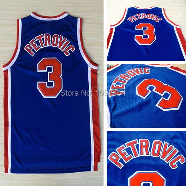 Free Shipping Throwback Basketball Jersey, Brooklyn #3 Drazen Petrovic Jersey, Wholesales High Quality Retro Basketball Jerseys(China (Mainland))