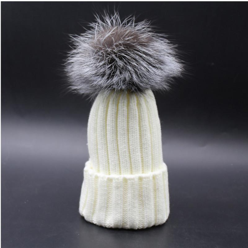Kids Boy Girl 100% Genuine Silver Fox Fur Pompom Winter skullies beanies Fur Pompon Ball Knit Hat Cap Bonnet For Children Baby(China (Mainland))