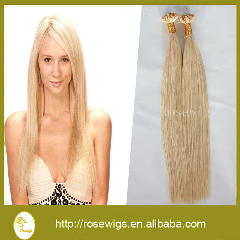 7A Double Drawn 100g/pack pre bonded Keratin stick hair U tip hair extensions 100% European Human Remy Hair blond #613(China (Mainland))