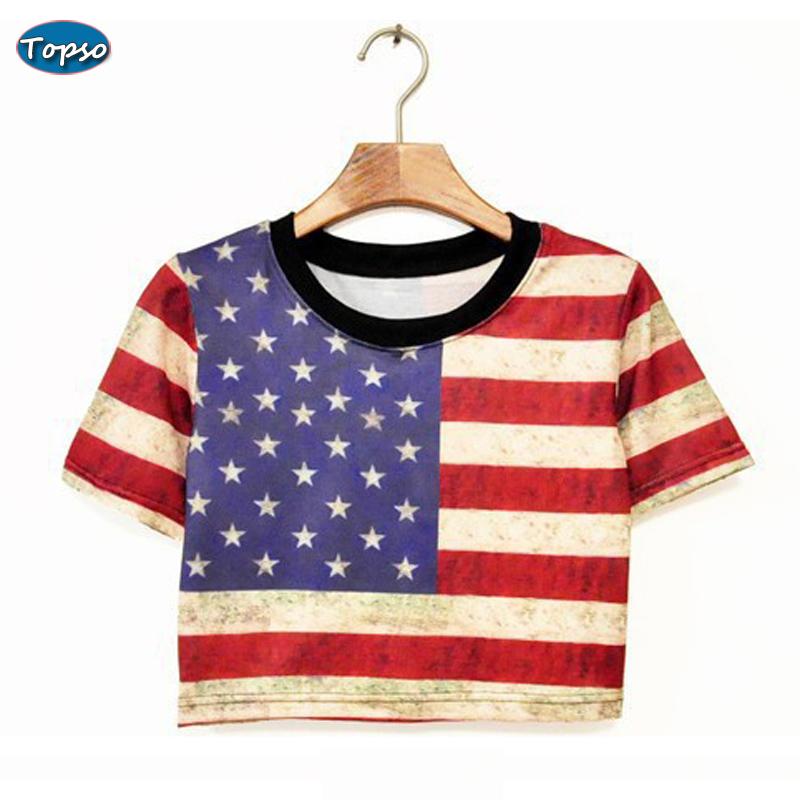 Harajuku Street Fashion Cotton Cropped Top American Flag Leaves Skull Print Short Design T shirt Crop Tops Women - Topso Shop store
