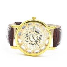 Fashion PU leather band watches Men s double sided hollow steel quartz watch casual quartz watch