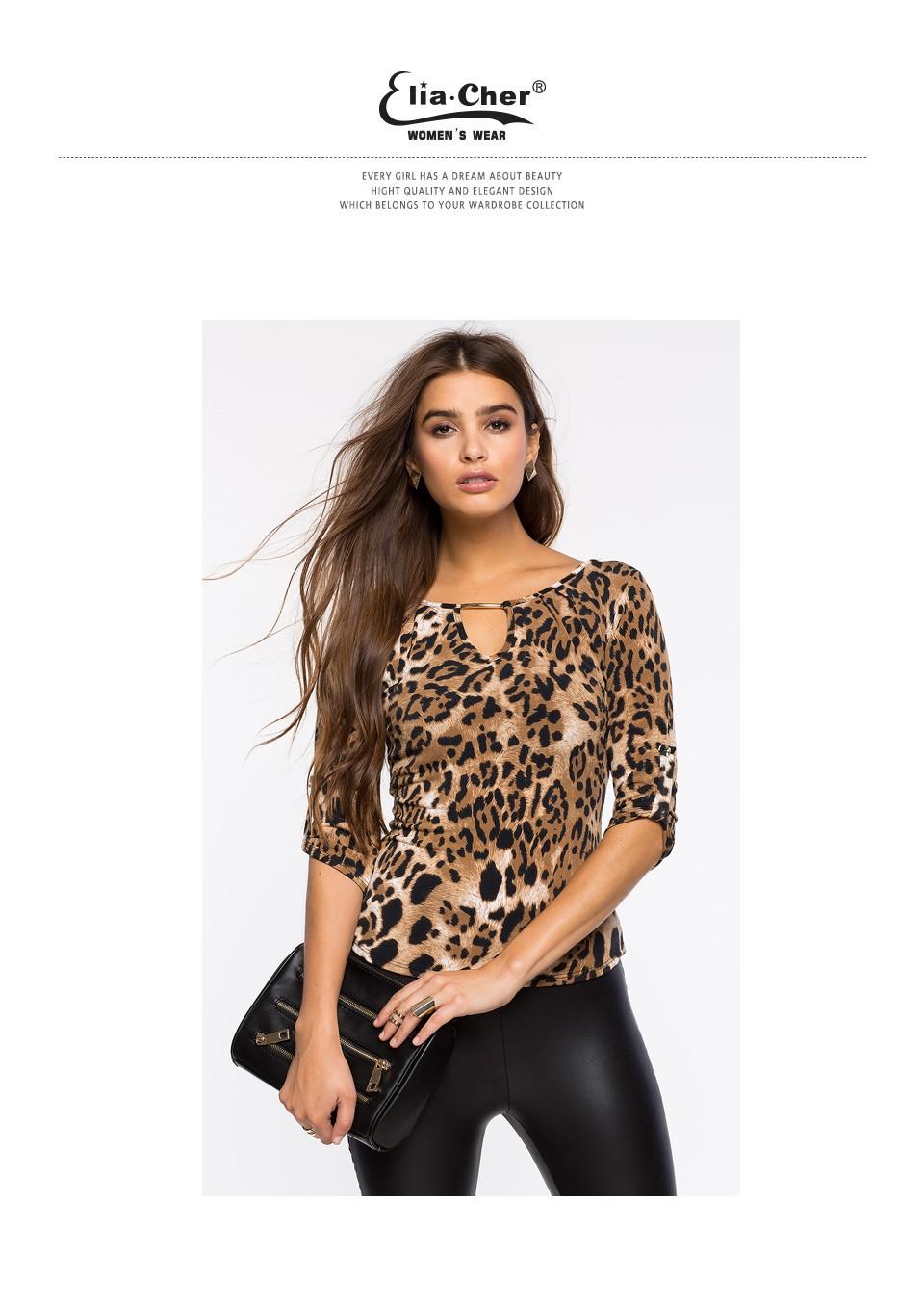 <font><b>Blouse</b></font> <font><b>Women</b></font> Tops 2016 Half Sleeve <font><b>Women</b></font> Shirt Elia Cher Plus Size Casual <font><b>Women</b></font> Clothing Lady Leopard Print <font><b>Blouses</b></font> Blusas 8231