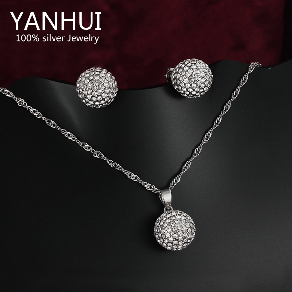 YANHUI Brand White Gold Filled Silver Wedding African Beads Jewelry Sets Full CZ Diamond Necklace Earrings Sets For Women HS002<br><br>Aliexpress